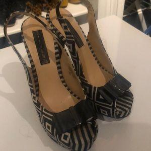 Bow top, open toe heels
